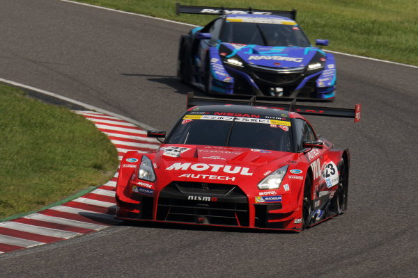 2017 Japanese Super GT Series. Suzuka, Japan. 26th - 27th August 2017. Rd 6. GT500 2nd position Tsugio Matsuda & Ronnie Quintarelli ( #23 MOTUL AUTECH GT-R ) action World Copyright: Yasushi Ishihara / LAT Images. Ref: 2017SGT_Rd6_009