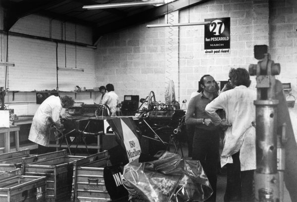 Slough, Berkshire, UK. 1973Frank Williams in the workshop with an ISO Marlboro IR01 Ford car. Portrait.World Copyright: LAT Photographicref: 35mm Black and White Negative 5764_11A-12
