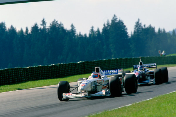 A1-Ring, Zeltweg, Austria. 19th - 21st September 1997Rubens Barrichello (Stewart SF1-Ford), retired, action. World Copyright: LAT Photographic.Ref:  Colour Transparency.