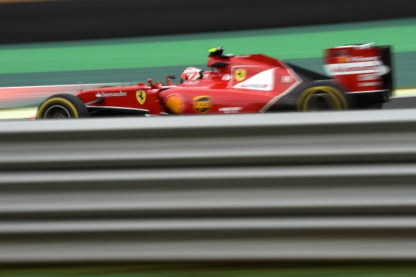 Kimi Raikkonen (FIN) Ferrari F14 T. Formula One World Championship, Rd18, Brazilian Grand Prix, Qualifying, Sao Paulo, Brazil, Saturday 8 November 2014.