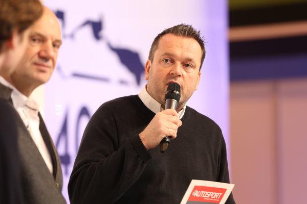 Autosport International Exhibition. National Exhibition Centre, Birmingham, UK. Sunday 15 January 2017. Henry Hope-Frost on stage. World Copyright: JEP/LAT Photographic ref: Digital Image