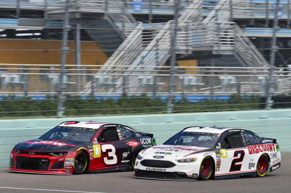 #3: Austin Dillon, Richard Childress Racing, Chevrolet Camaro Dow UCON and #2: Brad Keselowski, Team Penske, Ford Fusion Discount Tire