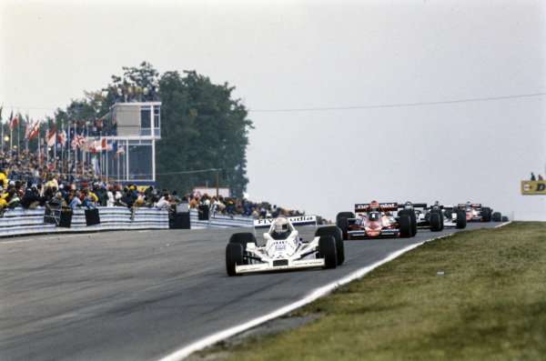 Alan Jones, Williams FW06 Ford leads Niki Lauda, Brabham BT46 Alfa Romeo.