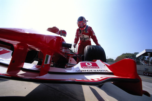 Rubens Barrichello in the pit lane with his Ferrari F2004.