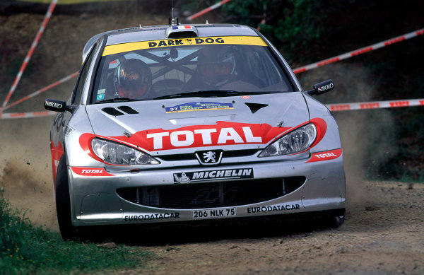 2001 World Rally Championship. Catalunya Rally, Spain. 22nd - 25th March 2001. Rd 4. Didier Auriol / D Giraudet, Peugeot 206 WRC, action. World Copyright: McKlein / LAT Photographic. Ref: A01