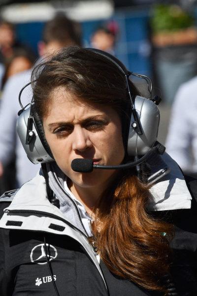 Kim Stevens (GBR) Mercedes AMG F1 Track Aerodynamicist at Formula One World Championship, Rd19, Mexican Grand Prix, Qualifying, Circuit Hermanos Rodriguez, Mexico City, Mexico, Saturday 29 October 2016.