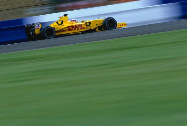 2002 British Grand Prix, Silverstone, England. 7th July 2002. Takuma Sato, Jordan Honda EJ12.World Copyright - LAT Photographic Ref: 35mm Original A27