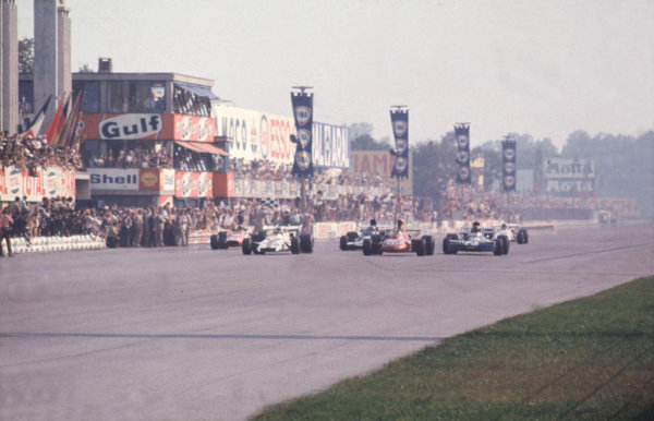Monza, Italy.3-5 September 1971.Peter Gethin (BRM P160) wins from Ronnie Peterson (March 711 Ford), Francois Cevert (Tyrrell 002 Ford), Mike Hailwood (Surtees TS9 Ford) and Howden Ganley (BRM P160) in the closest finish and fastest race in GP history. 