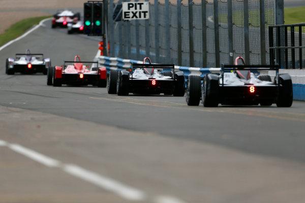 FIA Formula E Test Day, Donington Park, UK.  3rd - 4th July 2014.  Cars in the pitlane. Photo: Zak Mauger/FIA Formula E ref: Digital Image _L0U5146