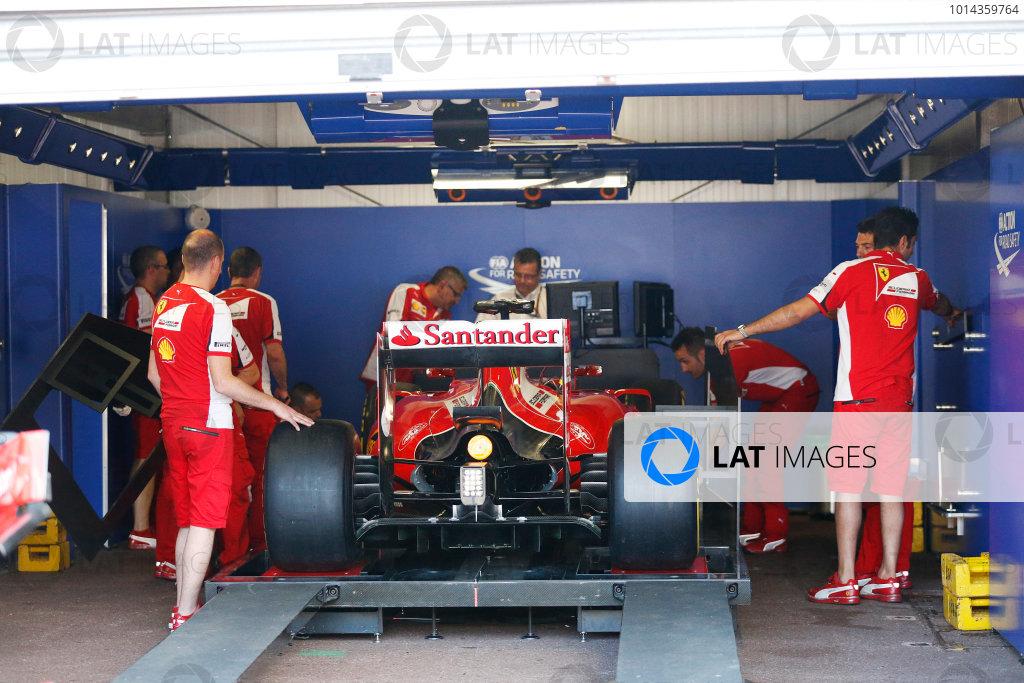 Monte Carlo, Monaco. Friday 22 May 2015. Ferrari in scrutineering. World Copyright: Alastair Staley/LAT Photographic. ref: Digital Image _79P1519