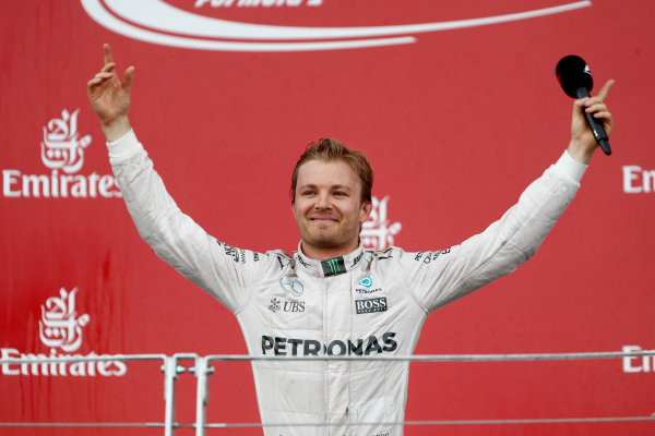 Baku City Circuit, Baku, Azerbaijan. Sunday 19 June 2016. Nico Rosberg, Mercedes AMG, 1st Position, celebrates victory. World Copyright: Glenn.Dunbar/LAT Photographic ref: Digital Image _V2I3721