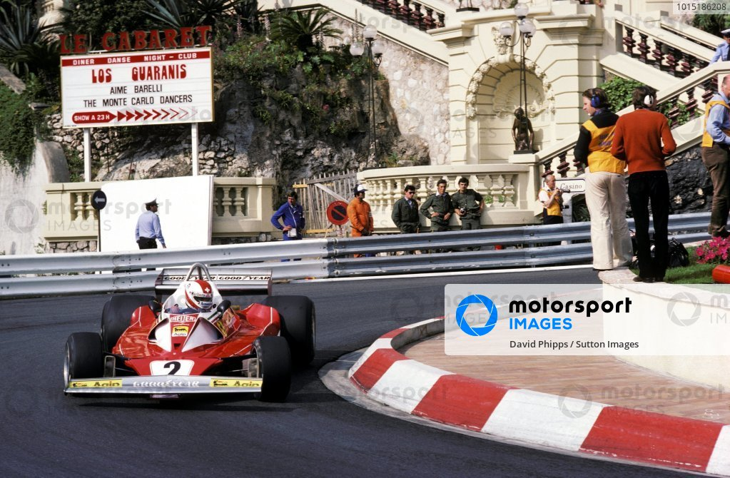 Clay Regazzoni (SUI) Ferrari 312T2 lost third position when he crashed out on lap 74.