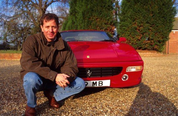 Martin Brundle (GBR) with his Ferrari 348 road car.Martin Brundle at home, Kings Lynn, England.1995.