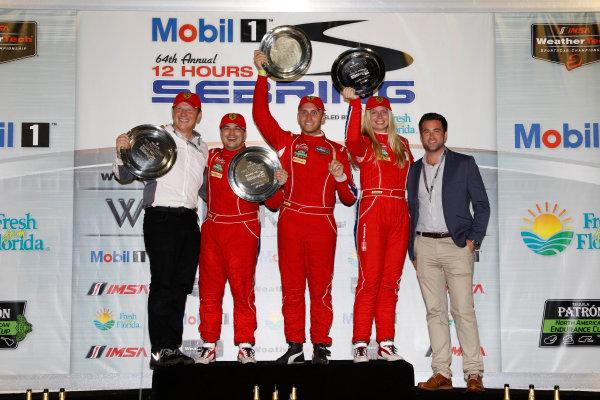 16-19 March, 2016, Sebring, Florida, USA , 63, Ferrari, 488 GT3, GTD, Christina Nielsen, Alessandro Balzan, Jeff Segal, podium ?2016, Michael L. Levitt LAT Photo USA