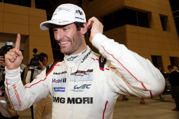 2015 FIA World Endurance Championship Bahrain 6-Hours Bahrain International Circuit, Bahrain Saturday 21 November 2015. Mark Webber (#17 LMP1 Porsche AG Porsche 919 Hybrid celebrates after winning the drivers championship. World Copyright: Alastair Staley/LAT Photographic ref: Digital Image _79P1338