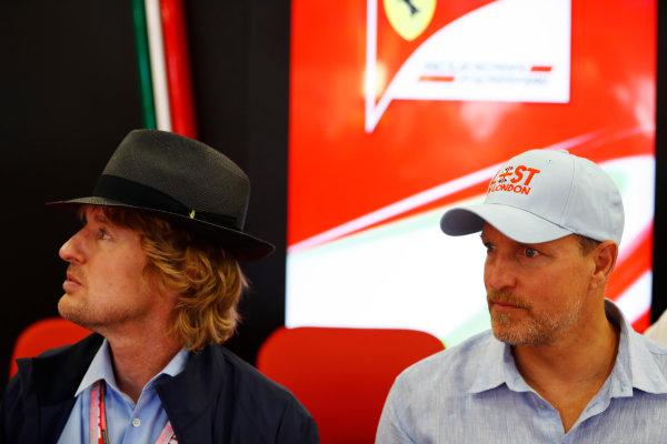 Silverstone, Northamptonshire, UK.  Sunday 16 July 2017. Actors Owen Wilson and Woody Harrelson in the Ferrari garage. World Copyright: Glenn Dunbar/LAT Images  ref: Digital Image _31I6223