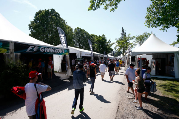 Circuit Gilles Villeneuve, Montreal, Canada. Sunday 11 June 2017. The fan village and F1 Gamezone. World Copyright: Andy Hone/LAT Images ref: Digital Image _ONZ4844