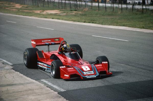 Kyalami, South Africa. 4-6 March 1976. Carlos Pace, Brabham BT45 Alfa Romeo. Ref: 76SA21. World Copyright - LAT Photographic