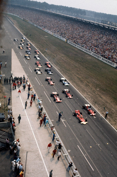 Hockenheim, Germany. 31st July - 2nd August 1970.Jochen Rindt (Lotus 72C-Ford), 1st position, and Jacky Ickx (Ferrari 312B), 2nd position, lead the grid at the start, action. World Copyright: LAT Photographic.Ref:  70GER14.
