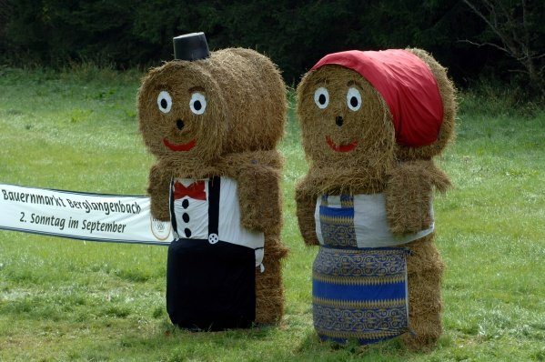 Straw bale 'people'.