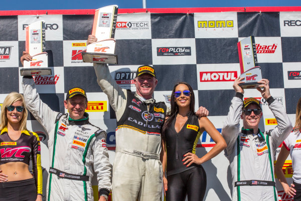 15-17 May 2015, Bowmanville, Ontario Canada Butch Leitzinger, #20 Bentley Continental GT3, Johnny O'Conell, #3 Cadillac ATS-VR GT3, Chris Dyson, #16 Bentley Continental GT3, podium ?2015, Brian Cleary LAT Photo USA