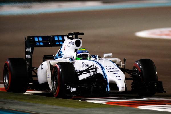 Yas Marina Circuit, Abu Dhabi, United Arab Emirates. Saturday 22 November 2014. Felipe Massa, Williams FW36 Mercedes. World Copyright: Glenn Dunbar/LAT Photographic. ref: Digital Image _W2Q5766