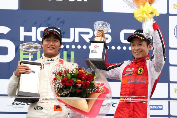 2014 All-Japan F3 Championship. Fuji, Japan. 11th - 12th October 2014. Rd 7. Driver's Champion Nobuharu Matsushita ( #7 HFDP RACING ) ( left ) podium, portrait World Copyright: Yasushi Ishihara / LAT Photographic. Ref:  2014_JF3_Rd14&15__008.JPG