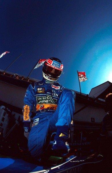 Michael Schumacher prepares to qualify his Benetton. Hungarian Grand Prix, Budapest, 14  August 1994