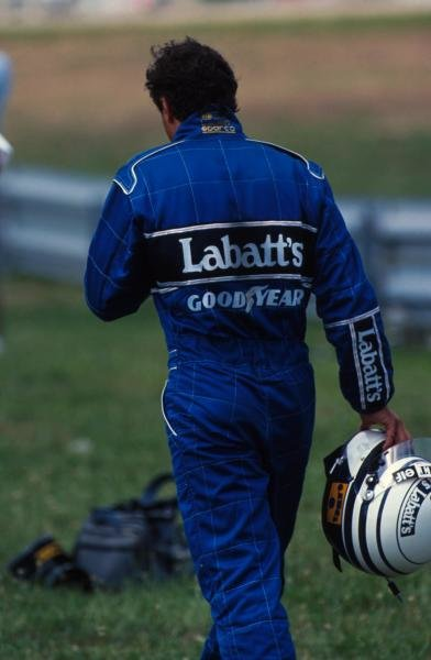 Riccardo Patrese returns to the pits after spinning out of the race on the last lap whilst challenging Senna for 2nd place. German Grand Prix, Hockenheim, 26 July 1992