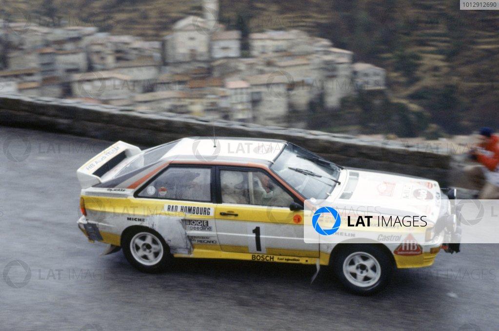 1984 World Rally Championship.Monte Carlo Rally, Monaco. 21-27 January 1984.Walter Rohrl/Christian Geistdorfer (Audi Quattro A2), 1st position.World Copyright: LAT PhotographicRef: 35mm transparency 84RALLY01