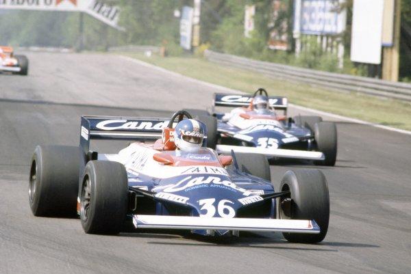 1981 Belgian Grand Prix.Zolder, Belgium. 15-17 May 1981.Derek Warwick leads Brian Henton (both Toleman TG181-Hart), did not qualify.World Copyright: LAT PhotographicRef: 35mm transparency 81BEL03