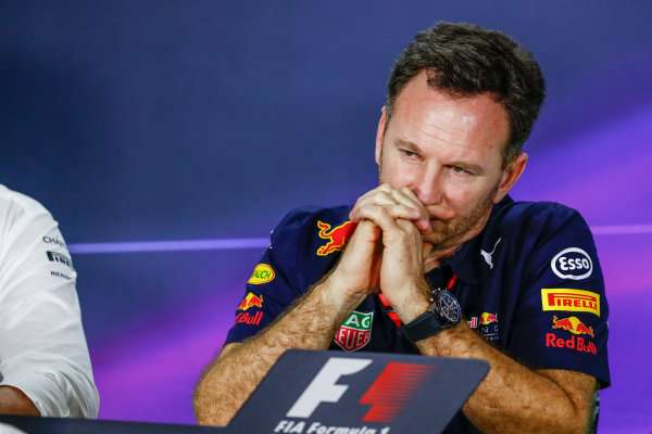 Albert Park, Melbourne, Australia. Friday 24 March 2017. Christian Horner, Team Principal, Red Bull Racing, in the Team Principals Press Conference. World Copyright: Sam Bloxham/LAT Images ref: Digital Image _W6I2437