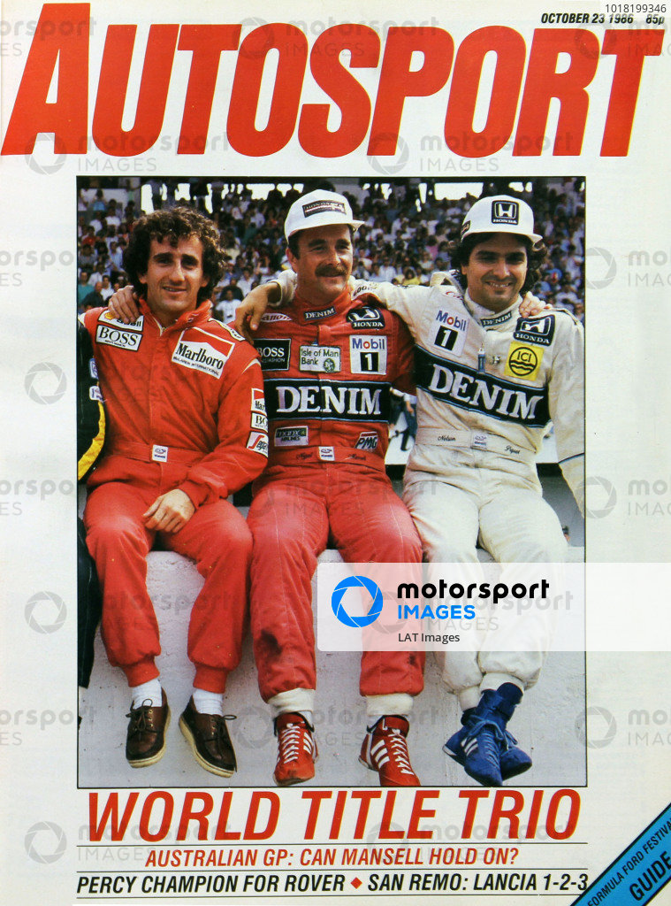 Cover of Autosport magazine, 23rd October 1986