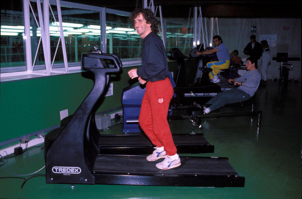 Alain Prost uses a Tredex treadmill in a gym