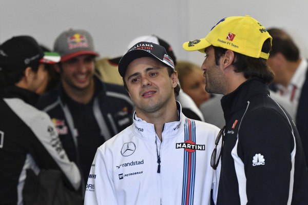 Felipe Massa (BRA) Williams and Felipe Nasr (BRA) Sauber on the drivers parade at Formula One World Championship, Rd19, Mexican Grand Prix, Race, Circuit Hermanos Rodriguez, Mexico City, Mexico, Sunday 30 October 2016.