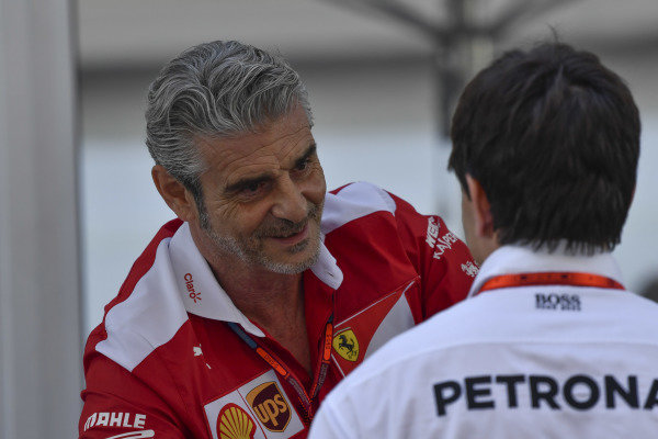 Toto Wolff (AUT) Mercedes AMG F1 Director of Motorsport and Maurizio Arrivabene (ITA) Ferrari Team Principal at Formula One World Championship, Rd18, United States Grand Prix, Qualifying, Circuit of the Americas, Austin, Texas, USA, Saturday 22 October 2016.