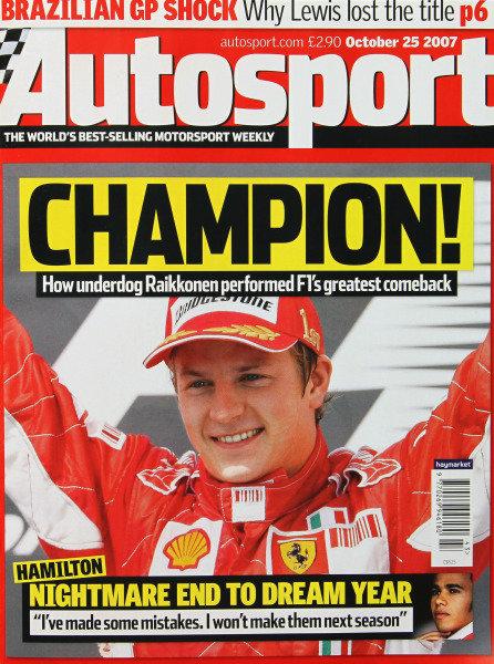 Cover of Autosport magazine, 25th October 2007