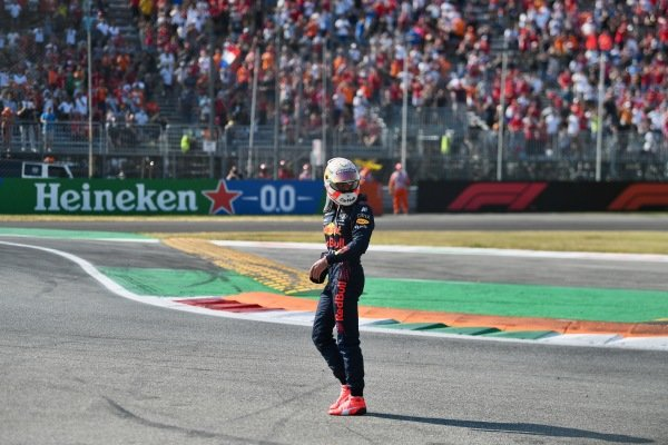 Sir Lewis Hamilton, Mercedes W12 and Max Verstappen, Red Bull Racing RB16B collide at the first chicane. Max Verstappen, Red Bull Racing, walks away from his damaged car