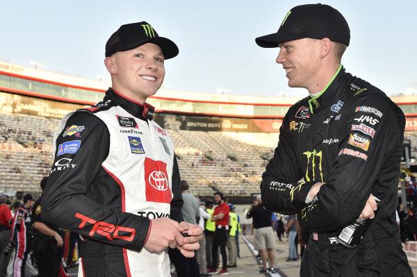 #98: Riley Herbst, Stewart-Haas Racing, Ford Mustang Monster Energy, #54: Ty Gibbs, Joe Gibbs Racing, Toyota Supra Monster Energy