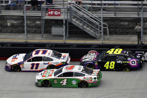 #11: Denny Hamlin, Joe Gibbs Racing, Toyota Camry FedEx Freight and #48: Jimmie Johnson, Hendrick Motorsports, Chevrolet Camaro Ally