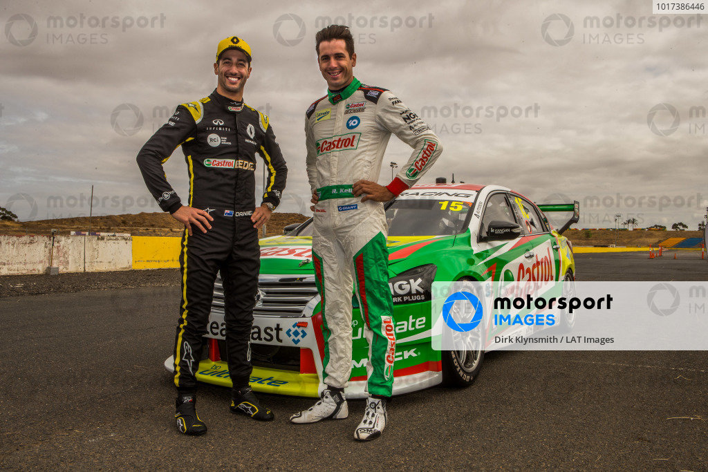 Daniel Ricciardo tests Kelly Racing Nissan Supercar at Calder, and poses with Rick Kelly