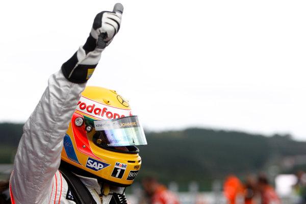 Spa Francorchamps, Spa, Belgium. 6th September 2008. Lewis Hamilton, McLaren MP4-23 Mercedes celebrates Pole Position. Portrait. World Copyright: Andrew Ferraro/LAT Photographic ref: Digital Image _H0Y5734