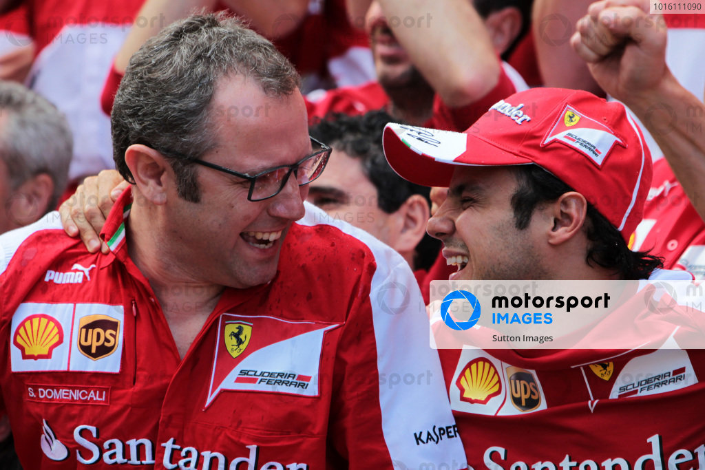 (L to R): Stefano Domenicali (ITA) Ferrari General Director celebrates with Felipe Massa (BRA) Ferrari who finished third. Formula One World Championship, Rd5, Spanish Grand Prix, Race Day, Barcelona, Spain, Sunday 12 May 2013.  BEST IMAGE