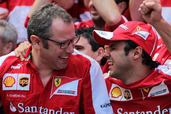 (L to R): Stefano Domenicali (ITA) Ferrari General Director celebrates with Felipe Massa (BRA) Ferrari who finished third. Formula One World Championship, Rd5, Spanish Grand Prix, Race Day, Barcelona, Spain, Sunday 12 May 2013.  BEST IMAGE