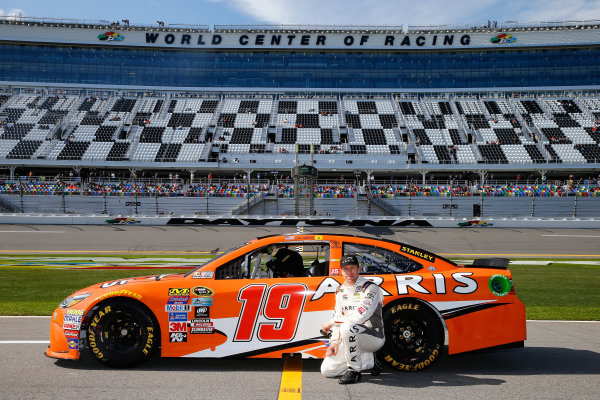 13-21 February, 2016, Daytona Beach, Florida USA   Carl Edwards, driver of the #19 ARRIS Toyota, poses with his car after qualifying for the NASCAR Sprint Cup Series Daytona 500 at Daytona International Speedway on February 14, 2016 in Daytona Beach, Florida.   LAT Photo USA via NASCAR via Getty Images