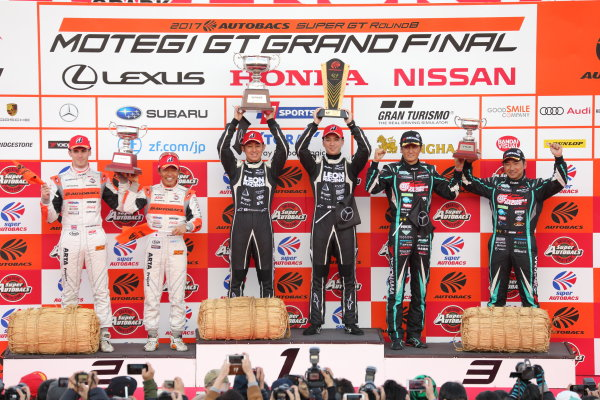 2017 Japanese Super GT Series. Motegi, Japan.  11th - 12th November 2017. Rd 8. GT300 Winner Haruki Kurosawa & Naoya Gamou ( #65  LEON CVSTOS AMG ) 2nd position Shinichi Takagi & Sean Walkinshaw ( #55 ARTA BMW M6 GT3 ) 3rd position Nobuteru Taniguchi & Tatsuya Kataoka ( #4 GOODSMILE HATSUNE MIKU AMG ) podium portrait World Copyright: Yasushi Ishihara/LAT Images ref: Digital Image 2017_SGT_Rd8_015