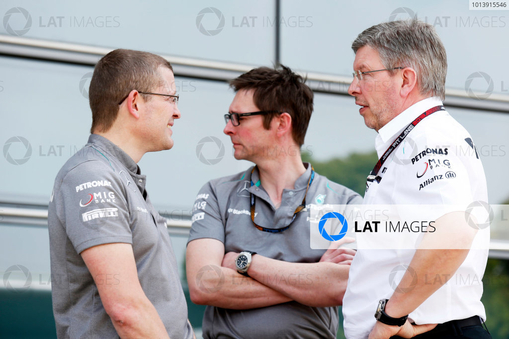 Shanghai International Circuit, Shanghai, China Saturday 13th April 2013 Ross Brawn, Team Principal, Mercedes AMG, and Andrew Shovlin, Chief Race Engineer, Mercedes AMG.  World Copyright: Charles Coates/LAT Photographic ref: Digital Image _N7T3562
