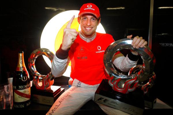 Shanghai International Circuit, Shanghai, China 18th April 2010 Jenson Button, McLaren MP4-25 Mercedes, 1st position, celebrates victory. Portrait.  World Copyright: Steven Tee/LAT Photographic ref: Digital Image _I4V1564