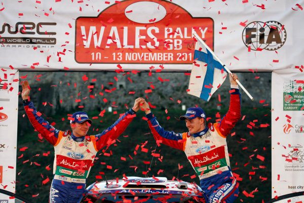 Round 13 Wales Rally GB. 10th-13th November 2011.Jari-Matti latvala, Mikka Anttila, Ford WRC, Portrait, podium finish.Worldwide Copyright: McKlein/LAT