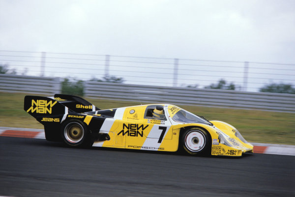 1984 Nurburgring 1000 Kms. Nurburgring, Germany. 15th July 1984 Ayrton Senna in the Porsche 956 he shared with Henri Pescarolo and Stefan Johansson. They finished the race 8th, after losing ten laps in the pits with a clutch problem.  This was Senna's only race in the World Sportscar Championship. World Copyright: LAT Photographic Ref: Colour Transparency.